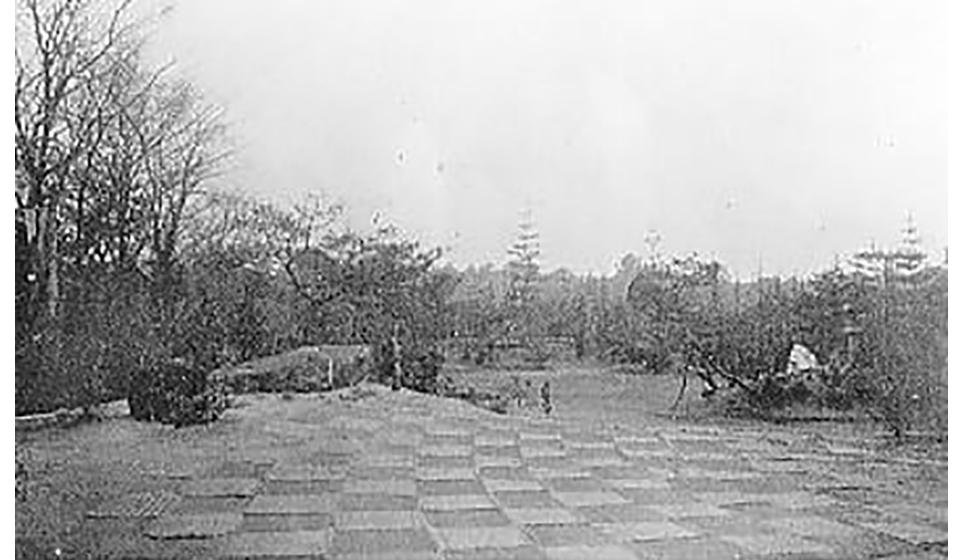 書院の庭の彼方は建中寺の森